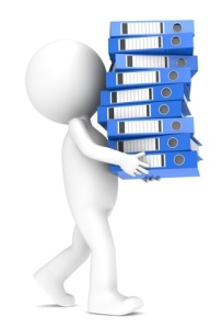 3D little human character carrying a large pile of Ring Binders.