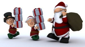 Christmas Elf Carrying Gifts for santa