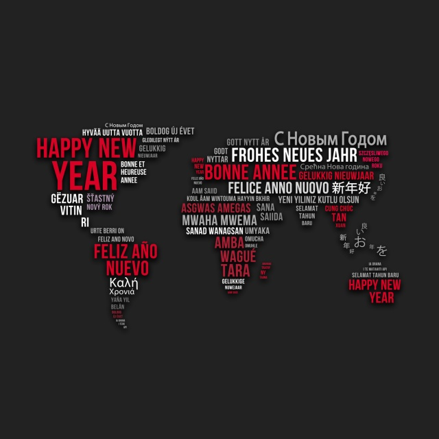 Happy New Year - World map