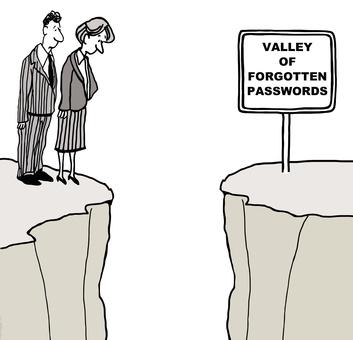 Cartoon of the valley of forgotten passwords.