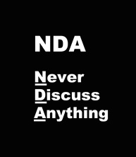 "Business illustration of a businesswoman and the words, ""NDA"", with a play on the words as ""Never Discuss Anything""."